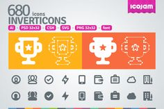 680 Inverticons by Icojam on Creative Market