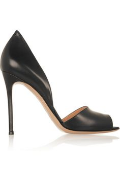 Heel measures approximately 100mm/ 4 inches Black leather Slip onLarge to size. See Size & Fit tab.