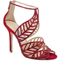 Jimmy Choo Red Crystal Pave Sandal You can see the Rest of the Outfit and my Comments on this board. Cute Shoes, Me Too Shoes, High Heels, Shoes Heels, Shoes 2014, Jimmy Choo Shoes, Dream Shoes, Mode Outfits, Beautiful Shoes