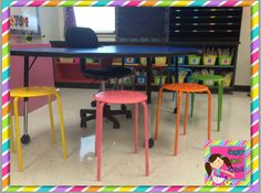 My First Grade Classroom Reveal! Totally in love with these ikea chairs - spraypainted in different colours - super cheap! Classroom Stools, Classroom Layout, Classroom Furniture, First Grade Classroom, Classroom Design, Kindergarten Classroom, School Classroom, Classroom Themes, Kindergarten Rocks