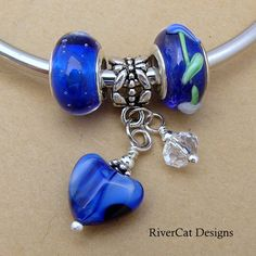 Three 3 Piece European Bead and Charm Set S-J2 by rivercatdesigns (Craft Supplies & Tools, Jewelry & Beading Supplies, Beads, lamp work glass, large core hole bead, add a bead style, changeable design, pandora fit, antique silver, jewelry, heart flower, pendant, necklace, bracelet, cobalt blue, charm)