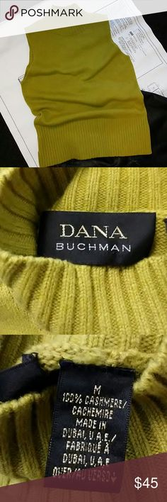 Cashmere acid green sleeveless mock turtle sweater DANA BUCHMAN 100% cashmere sleeveless mock turtleneck pullover sweater. Neck and bottom are ribbed for better fit. Sweater is fully fashioned for best quality construction. Pair with a black leather skirt or with jeans and a tweed blazer. DANA BUCHMAN Sweaters Cowl & Turtlenecks