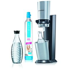 SodaStream Wassersprudler Crystal (mit 1 x CO2-Zylinder 60L und 2 x 0,6L Glaskaraffen) Titan/Silber: Amazon.de: Küche & Haushalt