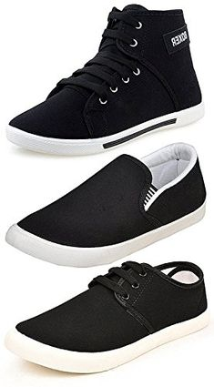 cheap for discount d80a8 e64a3 Maddy Men s Perfect Combo Pack of 3 Black Casual Loafer Shoes-for Black  Shoes Lovers