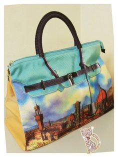 Mousse printed bag - green building tower style. Size : L39 x H27 x W18cm Price : US$79 Material: Polyester