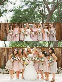 Pink champagne and purple bridesmaids dresses. Captured By: Sunny 16 Photography ---> http://www.weddingchicks.com/2014/05/29/vintage-reception-with-steal-worthy-ideas/