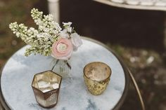 Gold Mercury Glass + Bud Vase | Vintage Southern Wedding at Magnolia Plantation Carriage House by Charleston Wedding Planner ELM Events