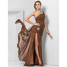 Sheath/Column One Shoulder Floor-length Chiffon Evening Dress – USD $ 148.49