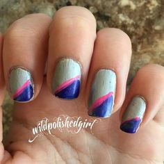 Such a simple manicure. Paint on a base coat. Using a different brush paint the corners and use a stripe polish to clean it up!