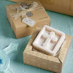 Baptism favor? Guest can wash away their sins! Hehe - Veronica Ramos You could make your own soap. Nice idea. Veronica.