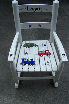 Vintage Children's Rocking Chair, custom painted with hand painted artwork. Perfect personalized gift ideas for birthdays , holidays, and baby showers.