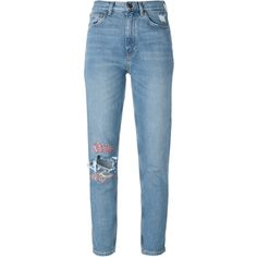 Mih Jeans cropped customised jeans ($365) ❤ liked on Polyvore featuring jeans, cropped jeans and blue jeans