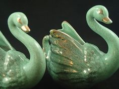 Pair of Mid Century aqua turquoise gracerul Swan planters with gold details and highlights