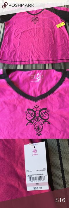 ☘️Pink & Black Plus Size Top🍀 Made For Life pink and black design and black accents V neck short sleeve top.  100% Cotton. Size 3X.  NWT. Made For Life Tops Tees - Short Sleeve