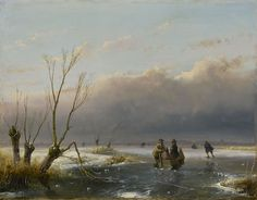 Andreas 'Andries' Schelfhout (1787-1870) Skaters in an extensive winter landscape, oil on panel 21.1 x 26.9 cm., signed l.r. and dated '46 Collection Simonis & Buunk, The Netherlands