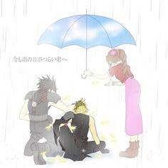 Zack & Aerith trying to comfort Cloud </3