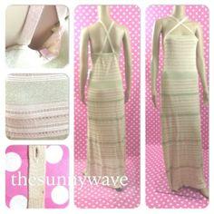 New Victoria 039 s Secret Gold Beige Straps Maxi Multiway Long Knit Crochet Dress XL | eBay