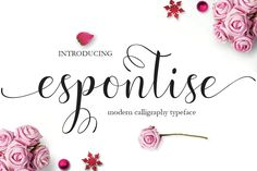 Script font, Espontise Script a beautiful gorgeous calligraphy style font for designers and stationery artists. $9 https://crmrkt.com/BA8Gx #ad