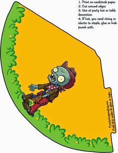 Plantas vs Zombies: Gorros para Imprimir Gratis.
