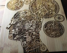 Personalized Cutting Board, Steampunk Decor, Robotic Gifts, Computer Science, Artificial Intelligence, Steampunk Brain, Psychology Gifts