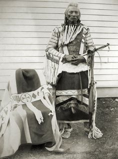 Little Chief, Principal Chief of the Assiniboine Nation, in Fort Belknap, Montana, 1899. (by orping, via Flickr)
