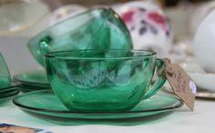 My favourite. Hay-on-wye 1st December, Tea Cups, My Favorite Things, Tableware, Glass, Green, Vintage, Dinnerware, Drinkware