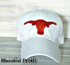 White baseball hat with glittered Texas UT by ShootenPretty