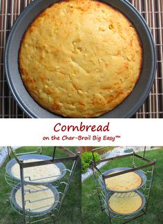 I love the cooking rack I picked up for my Char-Broil Big Easy. It gives me up to 6 racks of cooking at once. And as a bonus, I discovered that I can fit 9″ pie pans onto the rack. Now I can make a whole bunch of things I couldn't (easily) cook before. Like cornbread. And in my case, not just any cornbread. No. Over-the-top yummy Fat Johnny's cheesy cornbread.