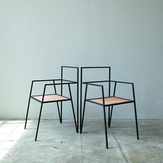 """""""Argentinian architecture has designed a collection of minimal furniture based around simple steel frames. The Alpina range includes a chair,…"""""""