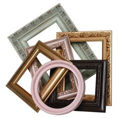 Create a unique vignette over your mantel or define an accent wall with this charming set of upcycled open back frames, artfully crafted with a bold color pa...