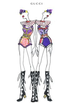 An Alessandro Michele for Gucci sketch for the backing dancers on Madonna's Rebel Heart tour
