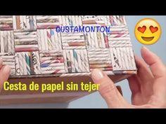 DIY Caja CESTA SIN TEJER, Manualidades recicladas - YouTube Rope Crafts, 3d Paper Crafts, Newspaper Crafts, Cardboard Crafts, Diy Arts And Crafts, Recycled Crafts, Diy Paper, Paper Art, Diy Crafts