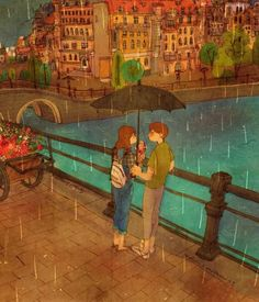 Hurry and eat it up! It would melt! Love Cartoon Couple, Cute Couple Art, Couple Illustration, Illustration Sketches, Puuung Love Is, Korean Artist, Love Pictures, Beautiful Artwork, Cute Love