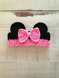Crochet Patterns Girl Crochet Girl Minnie Mouse Ear Warmer, Pink Headband, Minnie Ear Warmer, Minnie M… Crochet Toddler, Baby Girl Crochet, Crochet For Kids, Crochet Headband Free, Crochet Hats, Minnie Mouse Headband, Crochet Minnie Mouse Hat, Baby Hut, Pink Headbands