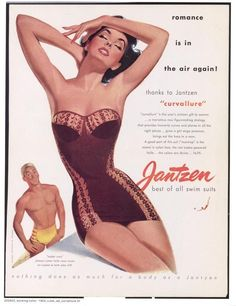 """""""Brings ou the hero in a man."""" (Somehow, he doesn't look very . . . heroic.) Pete Hawley's Jantzen Ads in the '40s and '50s."""