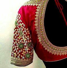 Wedding Saree Blouse Designs, Pattu Saree Blouse Designs, Blouse Designs Silk, Blouse Patterns, Aari Embroidery, Embroidery Dress, Embroidered Blouse, Maggam Work Designs, Indian Bridal Outfits