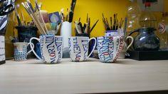 bekers met ceramiekverf