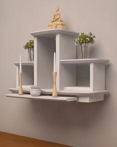 Temple Design For Home, Home Temple, Meditation Room Decor, Mandir Design, Altar Design, Pooja Room Door Design, Buddha Decor, Small Space Living Room, Home Altar