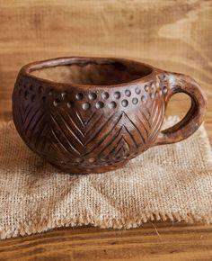 Душевная керамика. Глиняная чашка ручной лепки с орнаментом — работа дня на Ярмарке Мастеров #ceramics