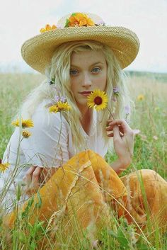 Country Girl photography girl flowers field country simple