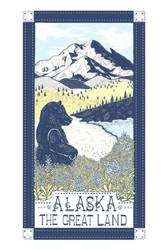 Vestiges Alaska The Great Land Region Kitchen Tea Towel