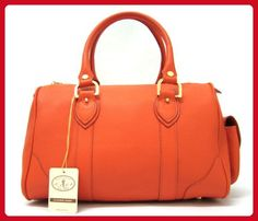 L.A.P.A. Italian Made Orange Calfskin Leather Bowling-style Designer Handbag - Satchels (*Amazon Partner-Link)