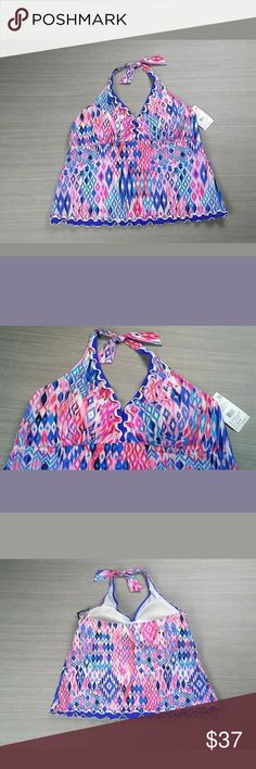NWT Profile by Gottex Halter Tankini Top 22W NWT Profile by Gottex halter tankini top women's size 22W. Color-Muli/Pink, soft cups, ruffle trim, halter tie behind neck allowing you to adjust. Please see photos for measurements. 76% Polyester 24% Lycra, hand wash. RN# 49787 Style# E551-1W88. Retails for $122. Thank you for looking. Profile By Gottex Swim