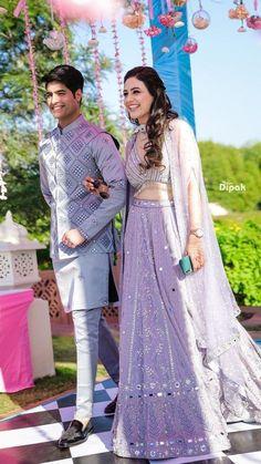 Couple Wedding Dress, Wedding Dresses Men Indian, Indian Bridal Outfits, Indian Fashion Dresses, Indian Designer Outfits, Bridal Dresses, Indian Weddings, Wedding Couples, Engagement Dresses