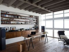 sawhorse desk: re-envision tall enough to perch at, with stool for perching purposes