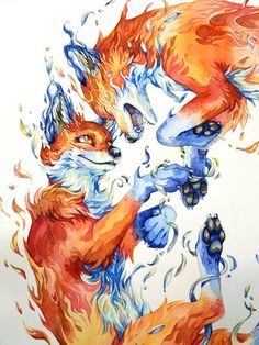 Who wouldn't love foxes? See some pictures of the process of making this watercolor painting here: www. Have a sneak peek. Fox Drawing, Painting & Drawing, Art Sketches, Art Drawings, Fuchs Tattoo, Fox Illustration, Fox Tattoo, Fox Art, Cute Animal Drawings
