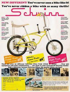 50 colorful vintage banana seat bikes for kids from the '60s & '70s, at Click Americana - #vintagebikes #vintagebicycles #bananaseat #retrobikes #retro #vintage #60s #70s #70skid #60skid #bikes #bicycles #clickamericana Retro Advertising, Vintage Advertisements, Vintage Ads, Bmx, Karting, Cool Bicycles, Cool Bikes, Velo Biking, Banana Seat Bike