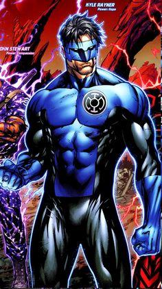 "the-key-to-hope: "" Blue Lantern Kyle Rayner! Marvel Dc Comics, Dc Comics Heroes, Dc Comics Characters, Dc Comics Art, Comic Book Heroes, Comic Books Art, Comic Art, Blue Lantern Corps, Green Lantern Kyle Rayner"