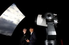 Macarthur Astronomical Society president Tony Law and Campbelltown Rotary Observatory director Dr Ragbir Bhathal at the Campbelltown Rotary Observatory. Picture: Robert Pozo
