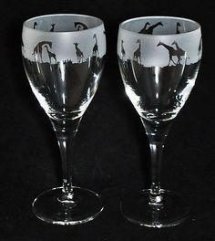 Giraffe etched wine glasses!
